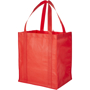 Red grocery tote with carry straps, plain for personalisation