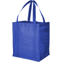 Blue reusable grocery bag with side gussets and carry straps