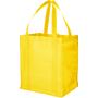 Large capacity reusable grocery bag in yellow with matching handles