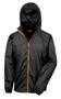 Lightweight Stowable Jacket in black with full zip in orange