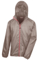 Lightweight Stowable Jacket in brown with full zip in pink