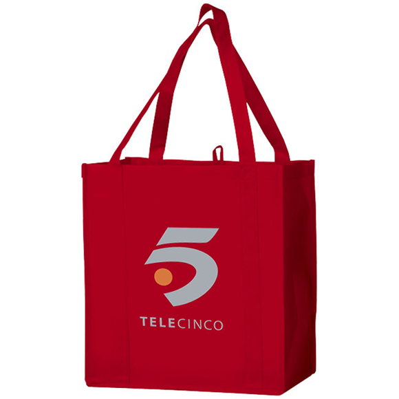 Small branded red shopper bag with short handles