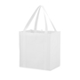 White grocery reusable bag with colour matched handles, made from lightweight non woven material