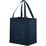 Reusable grocery bag in navy with short straps and wide gusset