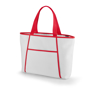 Tote style cooler bag in white with red trim and handles