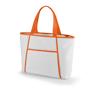 White cooler bag with orange trim and matching shoulder straps