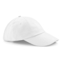 Low Profile Cap in white with seamless, centralised front panel