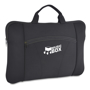Promotional solid black laptop sleeve with carry handle and company logo printed on the front