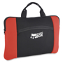 Laptop sleeve in black with red side panels, large main compartment and smaller front compartment branded with a logo