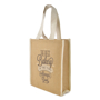 Side view of natural jute bag with small gusset and carry handles