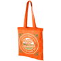 Orange shoulder bag with long handles and large print to the front