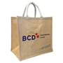 Large natural jute bag with short handles and company logo printed to the front