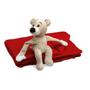 teddy bear sitting on a red blanket