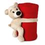 teddy bear holding red blanket