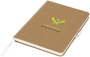 medium size cardboard notebook in brown with white fabric spine, ribbon and elastic pen loop with 3 colour print logo