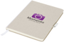 medium size cardboard notebook in white with white fabric spine, ribbon and elastic pen loop with 2 colour print logo