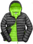 Men's Snow Bird Hooded Jacket in black with green lining