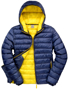 Men's Snow Bird Hooded Jacket in navy with yellow lining
