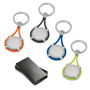 4 different coloured metal keyrings with elastic wrapped around the inner branded disc