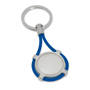 a metal disc that is wrapped in a blue elastic cord attached to a keyring loop