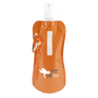 Orange roll up drinks pouch with matching carabine and company logo printed on the front