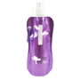 Metallic purple fold up drinking bottle branded with a logo