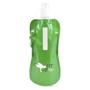 Green folding drinks bottle with matching metallic carabiner hook