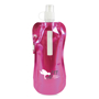 Magenta drinking pouch with matching pink clip and branding to the front