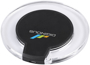 Circular charging pad with clear sides and a black centre