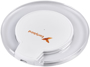 White round charging pad with clear sides printed with a logo