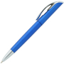 Blue twist action ball pen with silver trim