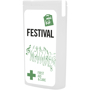 white slim mini first aid kit with contents label