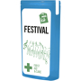blue slim mini first aid kit with contents label