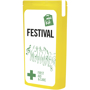 yellow slim mini first aid kit with contents label
