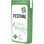 green slim mini first aid kit with contents label