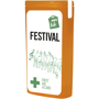 orange slim mini first aid kit with contents label