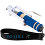 Mini Selfie Stick with blue handle and black strap