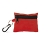 red minidoc first aid kit closed with attached carabiner