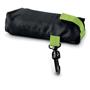 black foldable shopper bag in pouch
