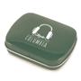 Green mint tin branded with a company logo on the lid