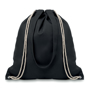 Black cotton drawstring backpack