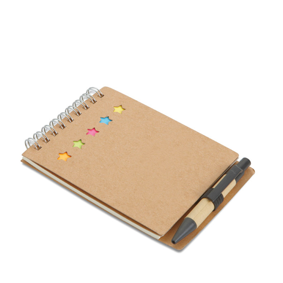 Recycled multibook Memo Pad in brown with wire binding, 5 sticky coloured tabs and carton barrel ball pen and blue ink