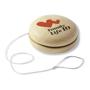 wooden yo yo with a 2 colour print to 1 side