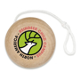 a wooden yo yo with a 4 colour print to 1 side