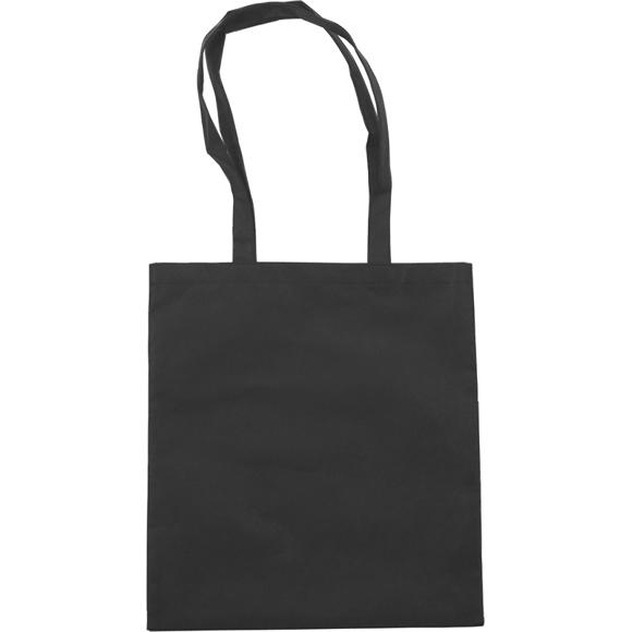 Black non woven long handled bag, plain for printing a company logo