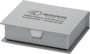 Office note desktop set in silver with 105 white sheets and 1 colour print on top of lid