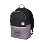 """Oliver 15"""" laptop backpack in black and grey with white details and 3 colour logo"""