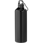 Black metal bottle with lid and caraibiner hook
