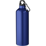 Navy straight sided metal drinking bottle with screw on cap and clip for attaching to a bag