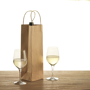 Paper Wine Bottle Bag with rope handles in brown